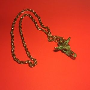Gold chain necklace skull bull cow longhorns green